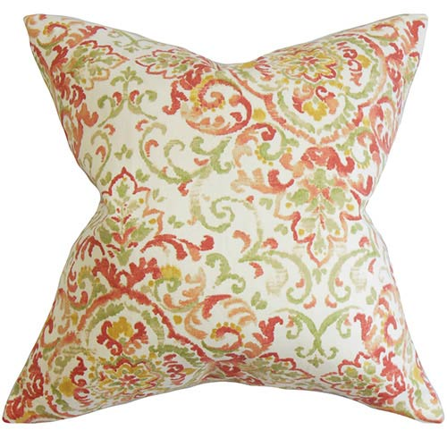 The Pillow Collection Halcyon Rose Green 18 x 18 Floral Throw Pillow