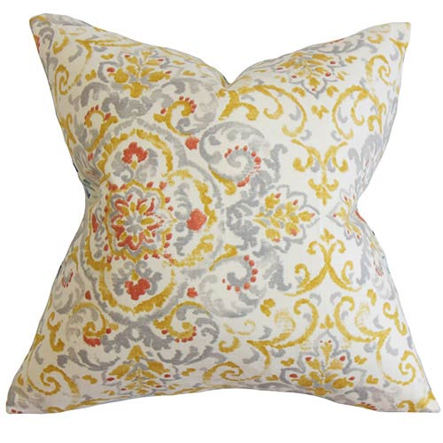 The Pillow Collection Halcyon Gray and Yellow 18 x 18 Floral Throw Pillow