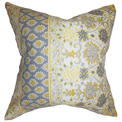 The Pillow Collection Kairi Yellow 18 x 18 Floral Throw Pillow
