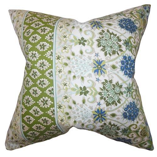 The Pillow Collection Kairi Green 18 x 18 Floral Throw Pillow
