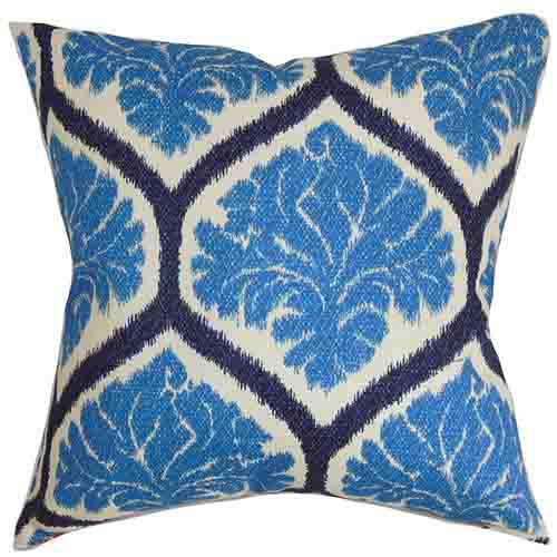 The Pillow Collection Priya Blue 18 x 18 Floral Throw Pillow
