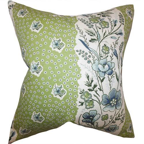 The Pillow Collection Elske Green 18 x 18 Floral Throw Pillow