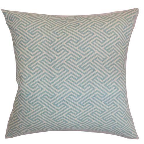 The Pillow Collection Graz Sky Blue 18 x 18 Geometric Throw Pillow