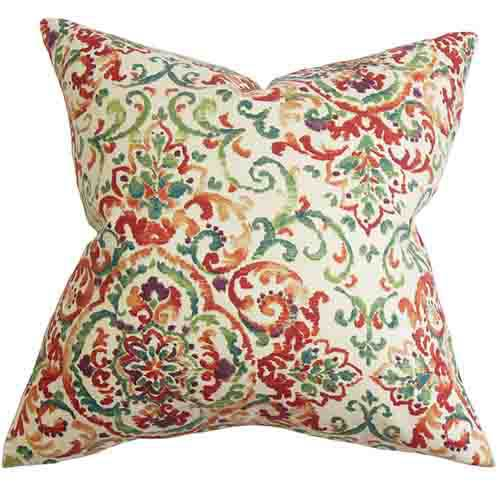 The Pillow Collection Halcyon Multicolor 18 x 18 Floral Throw Pillow