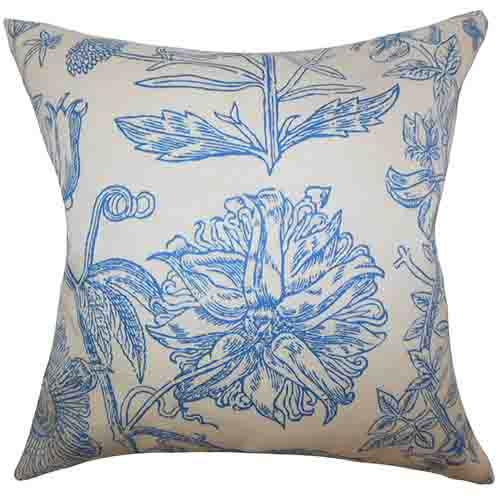 The Pillow Collection Neola Blue 18 x 18 Floral Throw Pillow
