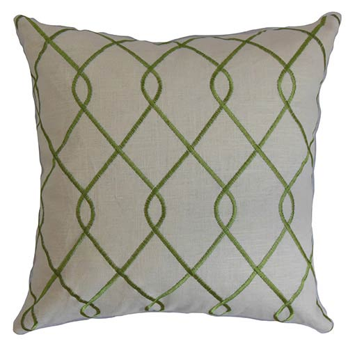 The Pillow Collection Jolo Green 18 x 18 Geometric Throw Pillow