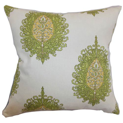 The Pillow Collection Perigueux Damask Pillow Leaf