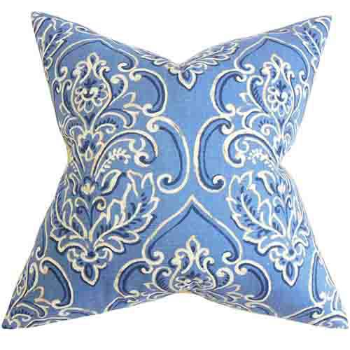 The Pillow Collection Yonah Blue 18 x 18 Floral Throw Pillow