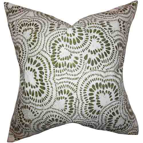 The Pillow Collection Glynis Olive Green 18 x 18 Floral Throw Pillow