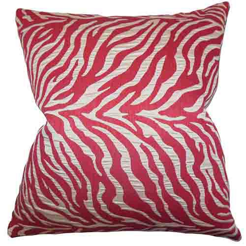 The Pillow Collection Helaine Pink 18 x 18 Zebra Print Throw Pillow
