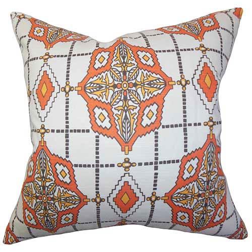 The Pillow Collection Huracan Orange 18 x 18 Geometric Throw Pillow