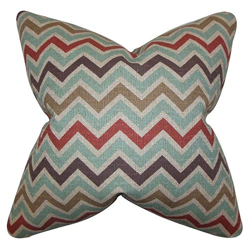 The Pillow Collection Howel Blue 18 x 18 Zigzag Throw Pillow