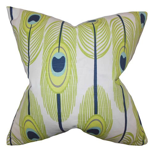 The Pillow Collection Hedy Green 18 x 18 Feather Print Throw Pillow
