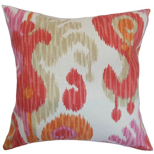 The Pillow Collection Xinguara Orange 18 x 18 Patterned Throw Pillow