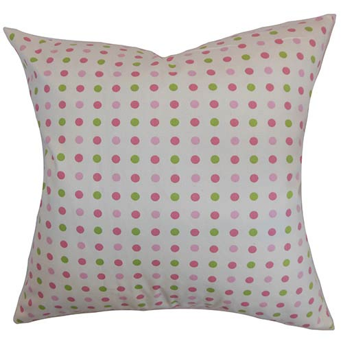 The Pillow Collection Baracua Pink 18 x 18 Dots Throw Pillow