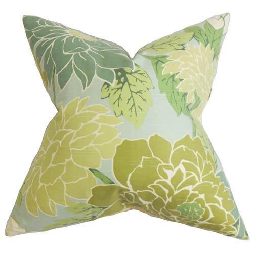 The Pillow Collection Kerensa Green 18 x 18 Floral Throw Pillow