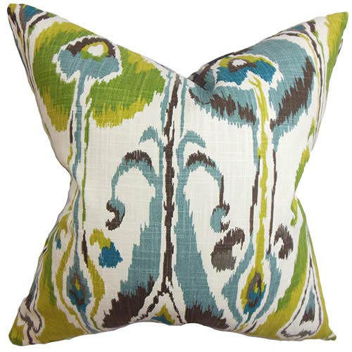 Gundrun Blue and Green 18 x 18 Ikat Throw Pillow