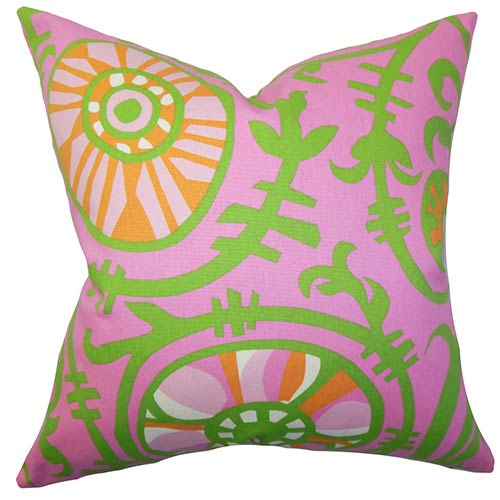 The Pillow Collection Janek Pink 18 x 18 Floral Throw Pillow