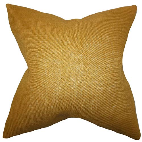 The Pillow Collection Ellery Gold 18 x 18 Solid Throw Pillow