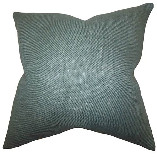 The Pillow Collection Ellery Blue Gray 18 x 18 Solid Throw Pillow