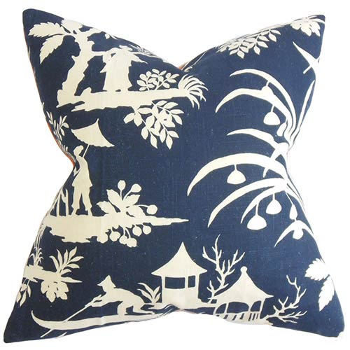 The Pillow Collection Liya Blue 18 x 18 Floral Throw Pillow