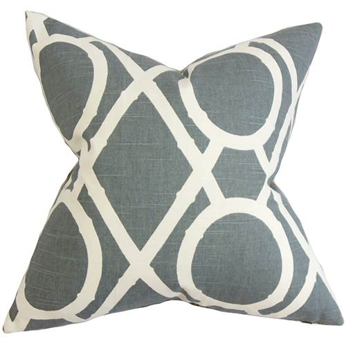 The Pillow Collection Whit Gray 18 x 18 Geometric Throw Pillow