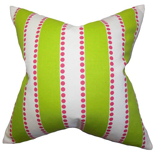 The Pillow Collection Odienne Green 18 x 18 Stripes Throw Pillow
