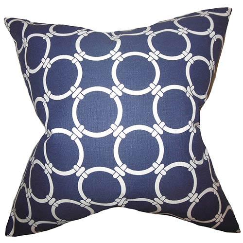 The Pillow Collection Bechet Blue 18 x 18 Geometric Throw Pillow