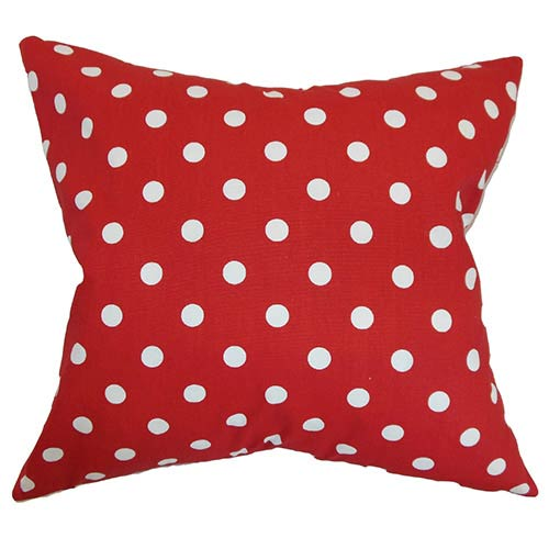 The Pillow Collection Nancy Lipstick Red 18 x 18 Patterned Throw Pillow