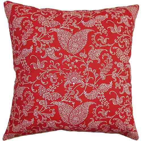 The Pillow Collection Aderyn Red and Pink 18 x 18 Paisley Throw Pillow
