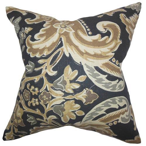 The Pillow Collection Kiriah Brown 18 x 18 Floral Throw Pillow