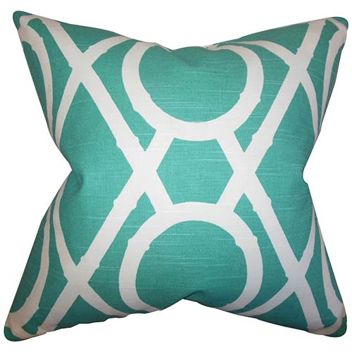 The Pillow Collection Whit Blue 18 x 18 Geometric Throw Pillow