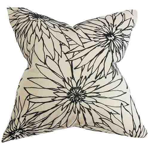 The Pillow Collection Phedora Black 18 x 18 Floral Throw Pillow