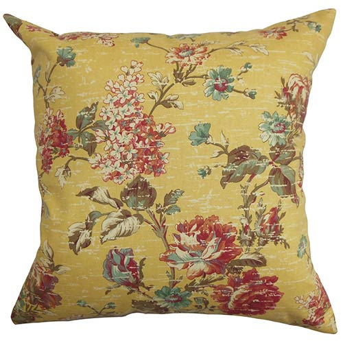 The Pillow Collection Cymbeline Yellow 18 x 18 Floral Throw Pillow