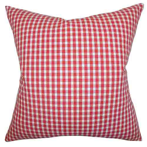 The Pillow Collection Jhode Red 18 x 18 PLaid Throw Pillow