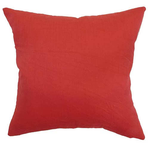 The Pillow Collection Calvi Red 18 x 18 Solid Throw Pillow