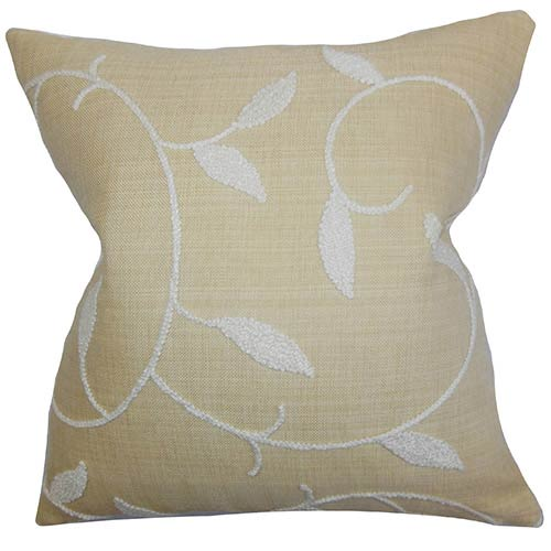 The Pillow Collection Dekyth Neutral 18 x 18 Floral Throw Pillow