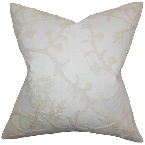 Marely White 18 x 18 Patterned Throw Pillow