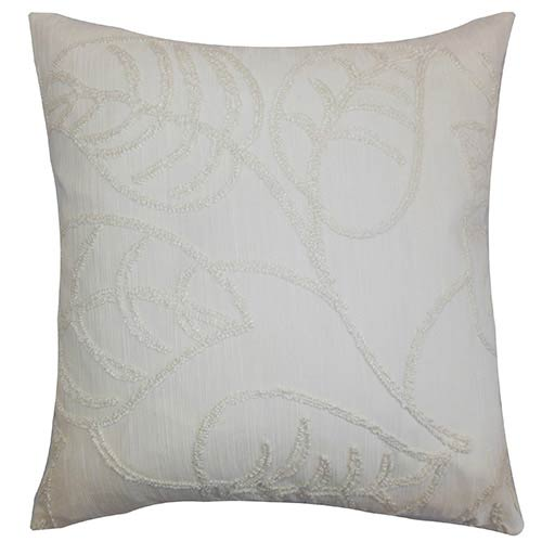 The Pillow Collection Fabrizia White 18 x 18 Floral Throw Pillow