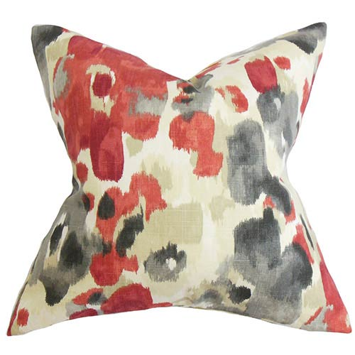 Delyne Red 18 x 18 Floral Throw Pillow