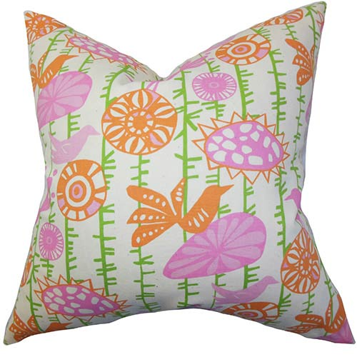 The Pillow Collection Nettle Pink and Green 18 x 18 Floral Throw Pillow