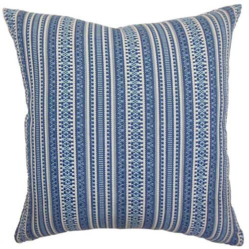 The Pillow Collection Gawanna Blue 18 x 18 Stripes Throw Pillow