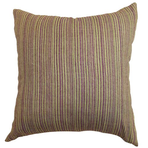 The Pillow Collection Mace Stripes Pillow Lime/Purple