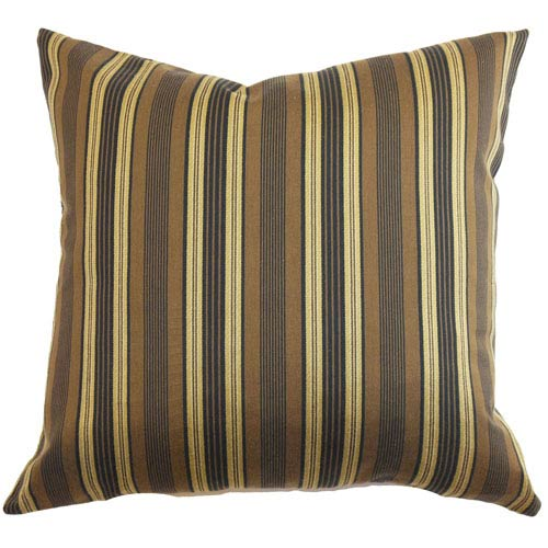 The Pillow Collection Paton Stripes Pillow Brown/Gold