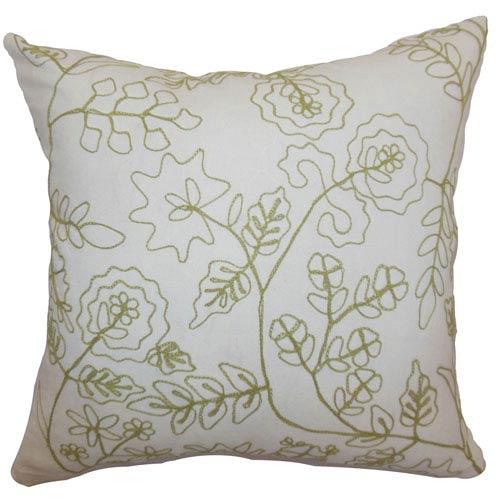 The Pillow Collection Reba Crewel Pillow Green