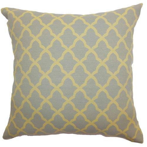 The Pillow Collection Rametta Moorish Tile Pillow Grey Yellow