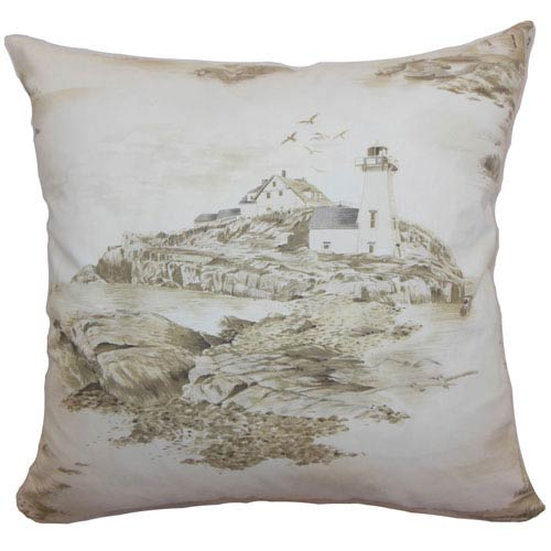 The Pillow Collection Zamiana Toile Pillow Creme