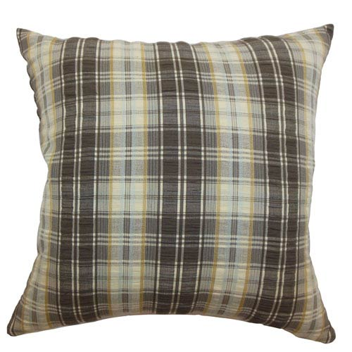 The Pillow Collection Virgilia Plaid Pillow Brown