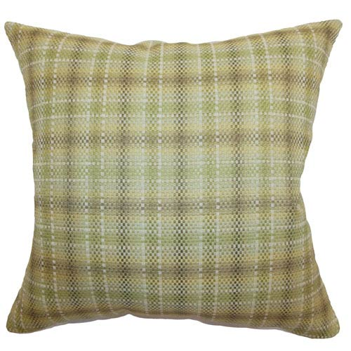 The Pillow Collection Adelasia Plaid Pillow Leaf