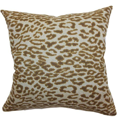 The Pillow Collection Egeria Leopard Print Pillow Brown